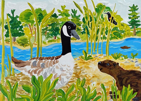 Beaver and Goose Greeting Card