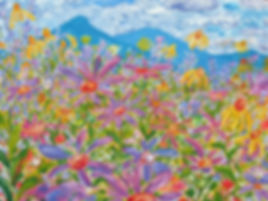 Coneflowers and Mountains Greeting Card
