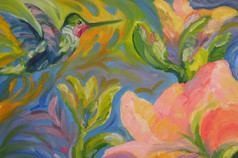 Hummingbird among Flowers