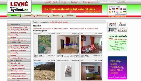Tvorba www stránek www.levnebydleni.cz