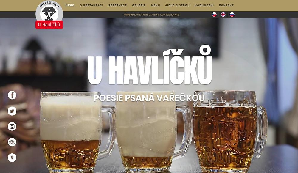 Restaurace U Havlíčků v Praze Michli spouští nový web