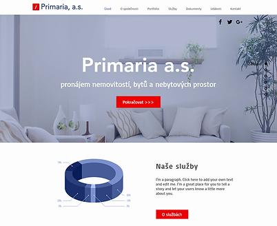 Tvorba webových stránek pro společnost Primaria, a.s.