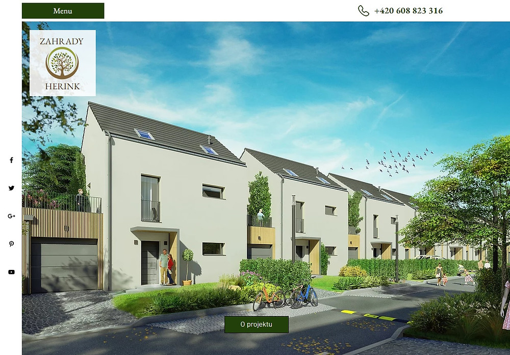 Výroba webových stránek pro developerský projekt Zahrady Herink