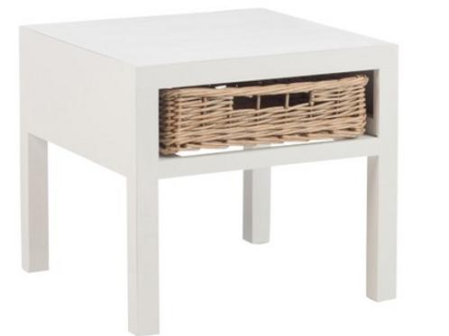 Mesa de cabeceira em madeira branca com gaveta de verga