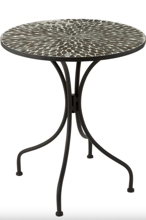 Pack 2 mesas redondas de ferro mosaico preto e branco