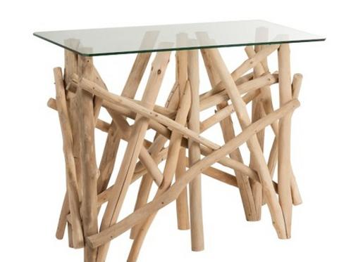 Consola com pé de troncos cor natural e tampo de vidro