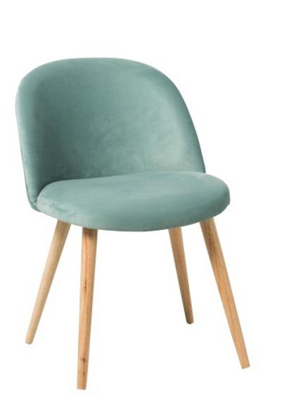 Pack 2 cadeiras pé em madeira e veludo verde