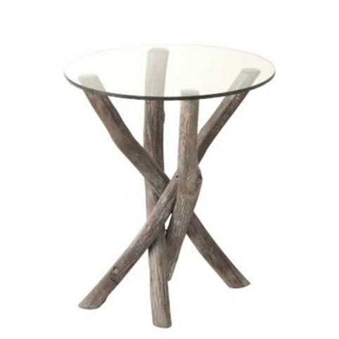Mesa de apoio redonda com tampo vidro e pé em troncos