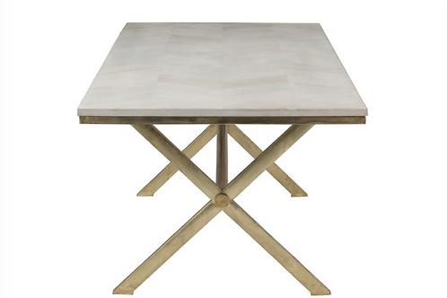 Mesa sala rectangular com metal dourado