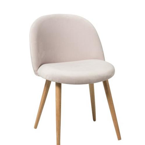 Pack 2 cadeiras pé em madeira e veludo rosa