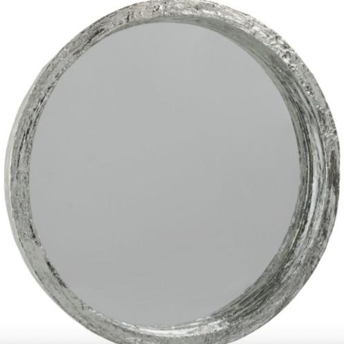 Espelho redondo prateado