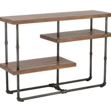 Consola metal cinzento com prateleiras em madeira