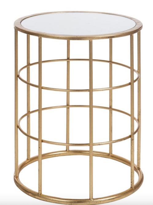 Mesa apoio redonda dourada