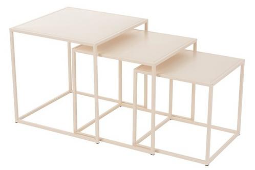Conjunto de 3 mesas de apoio metal beige