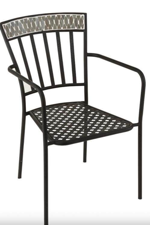 Pack 2 cadeiras em metal mosaico preto e branco