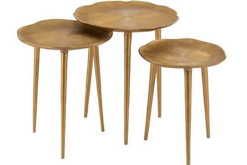 Conjunto 3 mesas apoio redondas douradas