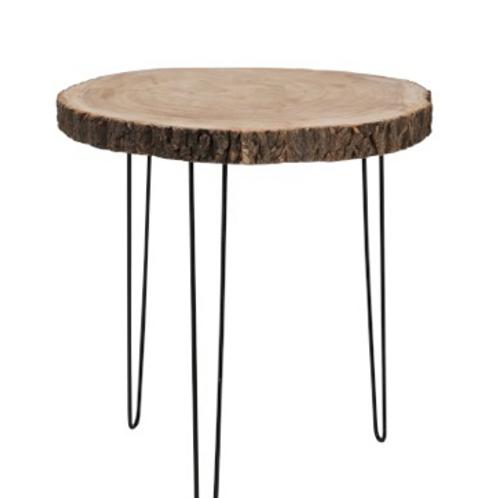 Mesa apoio redonda com tampo madeira