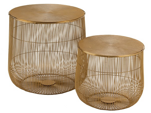 Conjunto 2 mesas de apoio redondas douradas