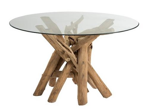 Mesa sala redonda com troncos madeira com tampo vidro