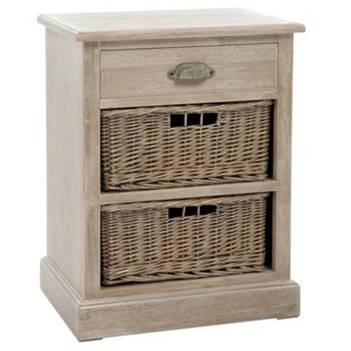 Mesa de cabeceira em madeira com gavetas em verga
