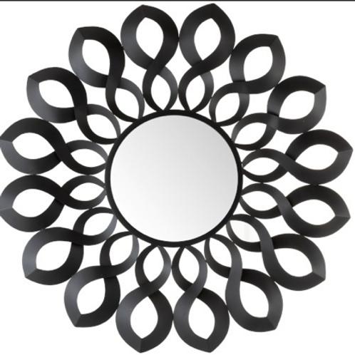 Espelho redondo metal preto