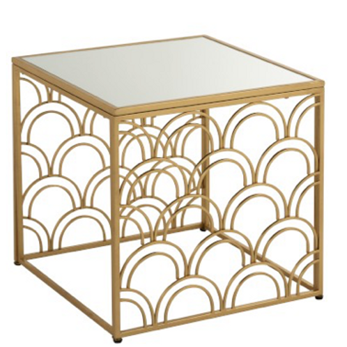 Mesa de apoio quadrada dourada