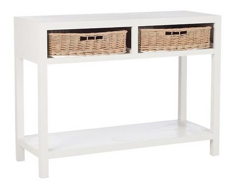 Consola em madeira branca com 2 gavetas em verga