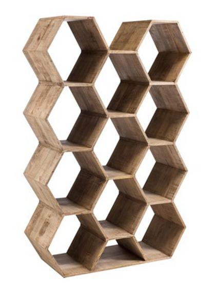 Estante com 11 hexágonos em madeira