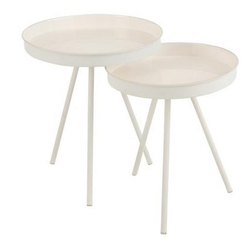 Conjunto 2 mesa apoio redonda metálicas brancas