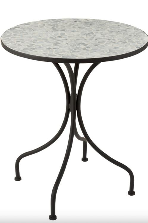 Pack 2 mesas redondas de ferro e mosaico cinza