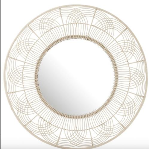 Espelho redondo em Bamboo branco