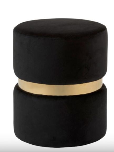 Pack 2 puffs veludo preto e dourado