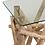 Thumbnail: Consola com pé de troncos cor natural e tampo de vidro