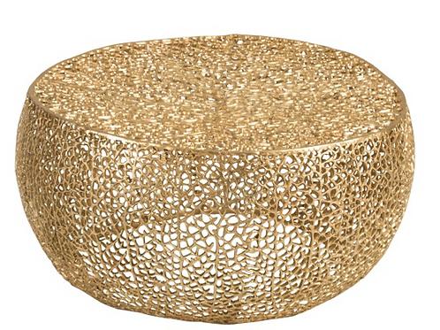 Mesa de centro redonda dourada