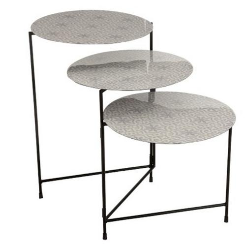 Conjunto de 3 mesas de apoio com o pé em metal preto