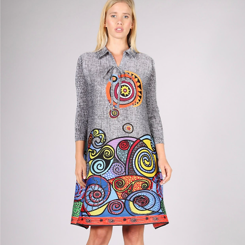 Swing dress with colorful print at the bottom