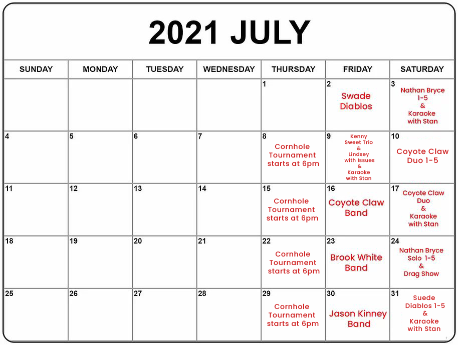 Rowdy Beaver Den entertainment for July.png