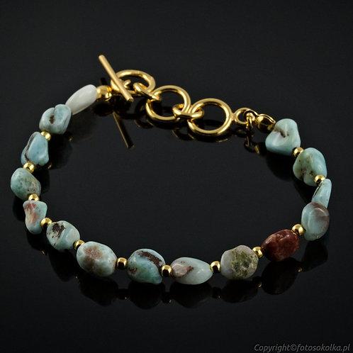 Złocona bransoletka beads larimar