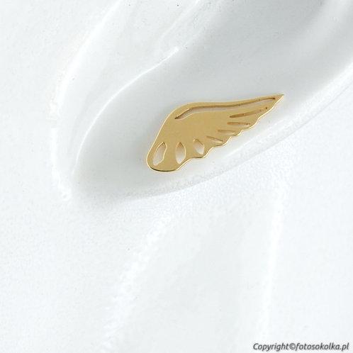 Złocone kolczyki skrzydełka wycinane laserowo