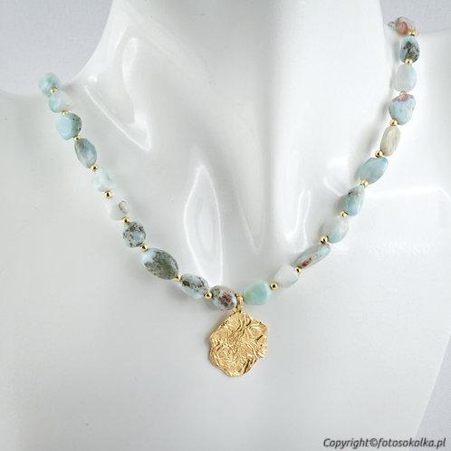 Złocona kolia beads larimar