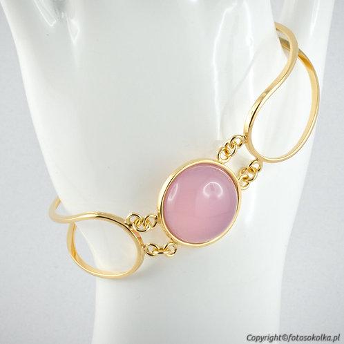 Złocona bransoletka z różowym agatem (gładka)
