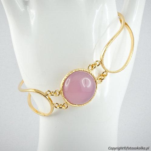 Złocona bransoletka z różowym agatem (młotkowana)