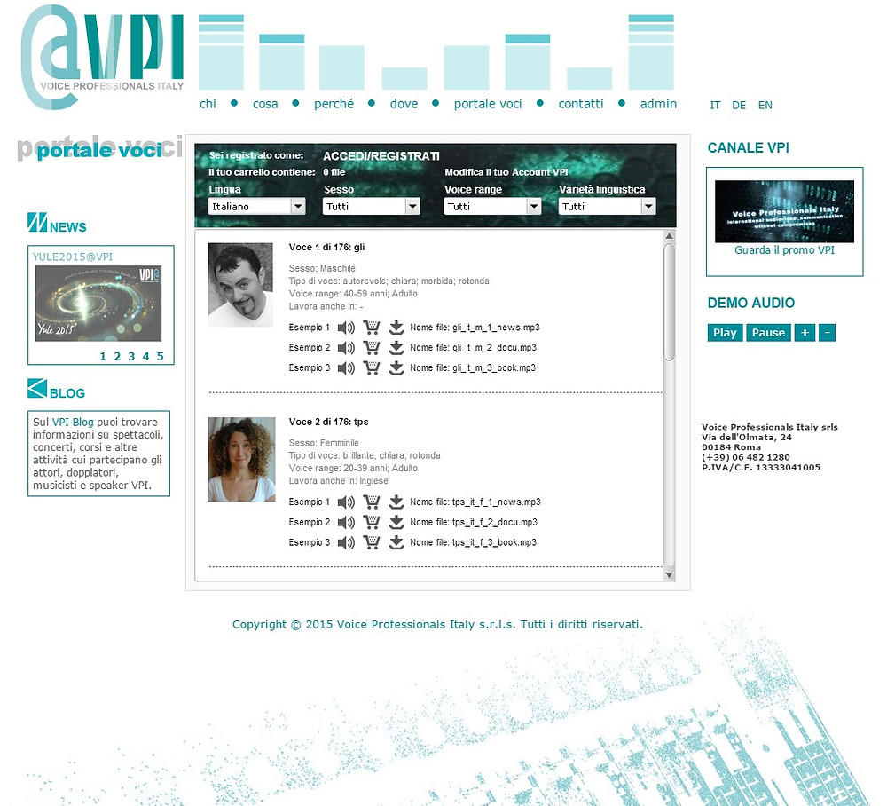 ...vecchio Portale Voci VPI; old VPI Voice Portal