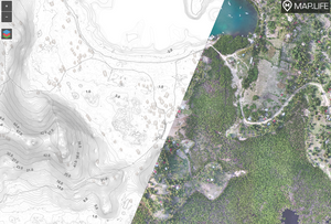 Map showing Drone survey contours and aerial imagery sample of hills and ocean bay at 25cm and 10cm resolution from Haiti hosted on Map.Life.