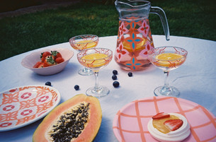 AMALFI JUG + SICILY GLASSES + CASABLANCA PLATE + CHECK PLATE