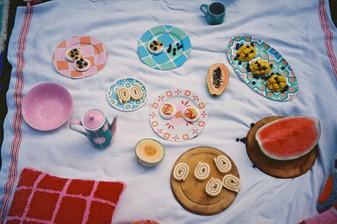 CASABLANCA PLATES + BOWL + BARCELONA TEA POT + MUG +CHECK PLATES + CUSHION + HAVANA PLATTER