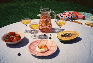 AMALFI JUG + SICILY GLASSES + CHECK PLATE