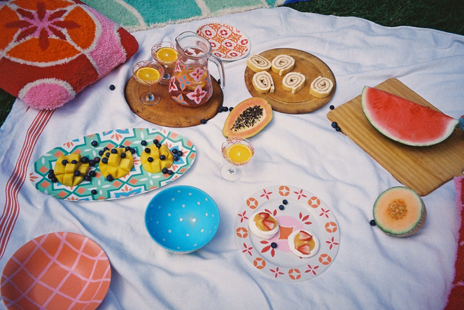 HAVANA PLATTER + CASABLANCA PLATE + BOWL + CHECK BOWL + AMALFI JUG + SICILY GLASSES + MILAN CUSHION