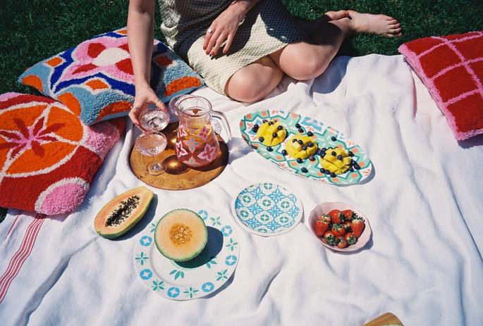 CASABLANCA PLATES + HAVANA PLATTER + AMALFI JUG + CUSHION + SICILY GLASSES + MILAN + CHECK CUSHIONS