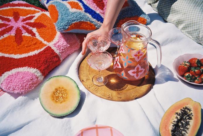 AMALFI JUG + CUSHION + SICILY GLASSES + MILAN CUSHION